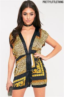PrettyLittleThing Plunge Cheetah Print Playsuit