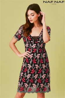 Naf Naf Embroided Skater Dress