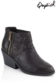 Qupid Cutout Detail Ankle Boot
