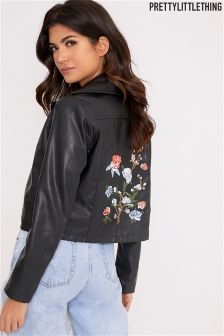 PrettyLittleThing Studded Embroidered Leather Jacket