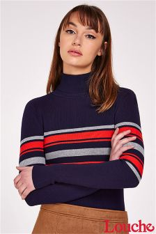 Louche Stripe Polo Neck Jumper