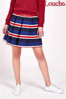 Louche Stripe Pleated Skirt
