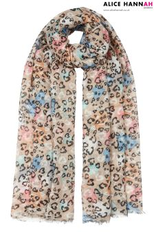 Alice Hannah Animal Print Woven Scarf