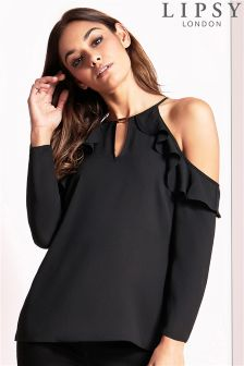 Lipsy Cold Shoulder Ruffle Blouse