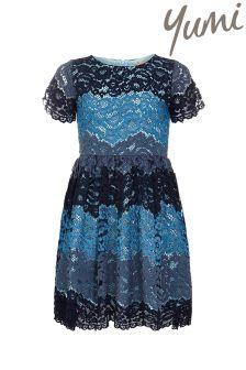 Yumi Girl Lace Stripe Dress