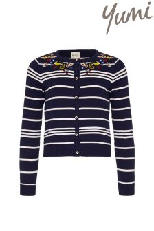 Yumi Girl Floral Embroidered Stripe Cardigan