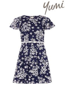 Yumi Girl Floral Lace Belt Dress