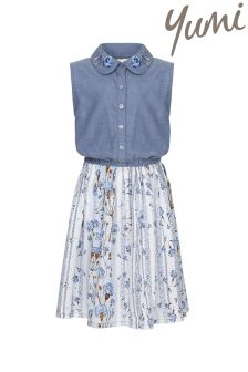 Yumi Girl Floral Embroidered Collar Dress