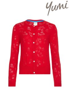 Yumi Girl Cherry Pointelle Cardigan