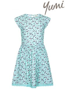 Yumi Girl Dog Print Lace Hem Dress