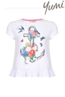 Yumi Girl Anchor Frill T-shirt