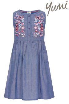 Yumi Girl Floral Embroidered Smock Dress