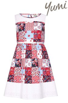 Yumi Girl Floral Patchwork Belted Dress