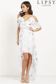 Lipsy Floral Print Burnout Maxi Dress