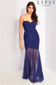 Lipsy Ruched Bandeau Maxi Dress