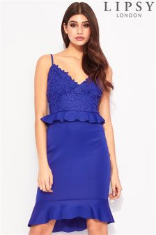 Lipsy Lace Frill Bodycon Dress