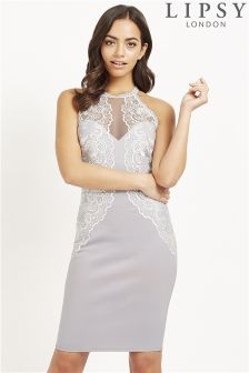 Lipsy Embroidered Lace Trim High Neck Bodycon Dress