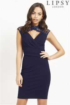 Lipsy Lace Trim Shoulder Detail Bodycon Dress
