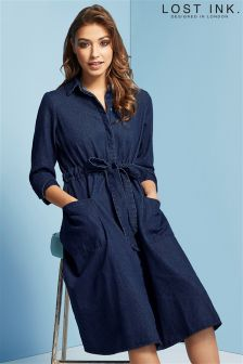 Lost Ink Denim Shirt Dress