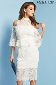 Lost Ink Lace Peplum And Cold Shoulder Detail Dress