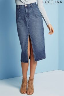 Lost Ink Denim Skirt