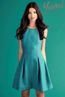 Yumi Embellished Jacquard Skater Dress
