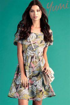 Yumi Floral Leaf Day Dress