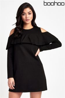 Boohoo Cold Shoulder Ruffle Dress