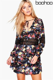 Boohoo Floral Print Lace Insert Skater Dress