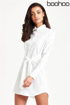 Boohooo Tie Front Shirt Dress