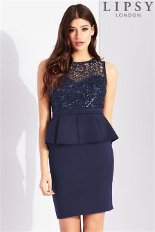 Lipsy Sequin Top Peplum Dress