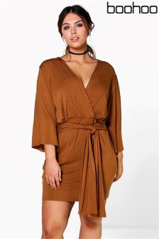 Boohoo Plus Wrap Front Plunge Neck Dress