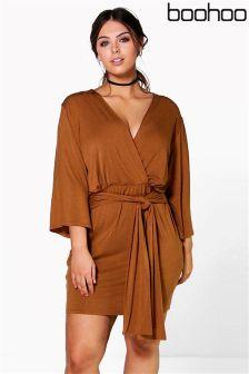 Boohoo Plus Wrap Front Plunge Neck Dress