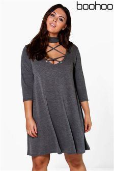 Boohoo Plus Lace Up High Neck Swing Dress