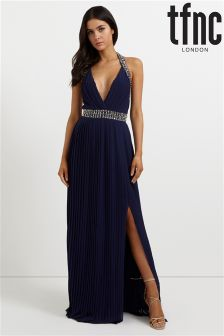 tfnc Embellished Halter Pleated Maxi Dress