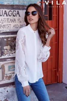 Vila Lace Sleeve Detail Shirt