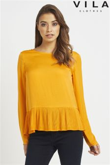 Vila Long Sleeve Top With Plisse Hem Detail