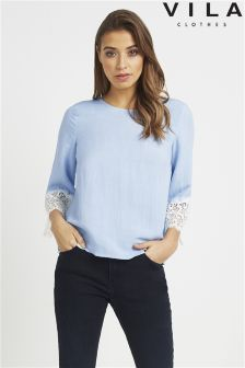 Vila 3/4 Sleeve Top With Lace Cuff