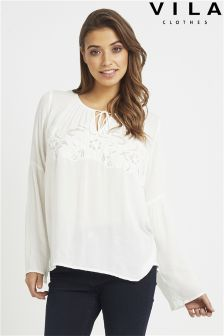 Vila Tie Up Blouse