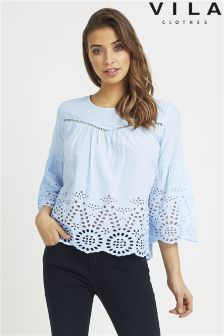 Vila Bell Sleeve Embroidered Top