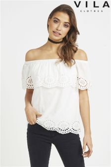 Vila Off The Shoulder Embroidered Top
