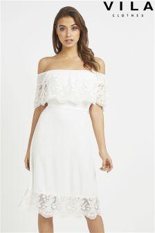 Vila Off Shoulder Midi Dress