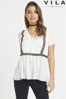 Vila Embroidered Tie Up Blouse