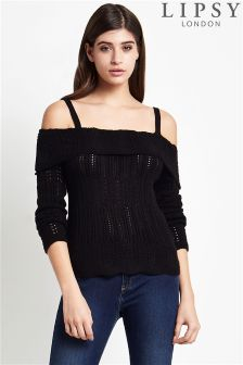 Lipsy Pointelle Detail Cold Shoulder Jumper