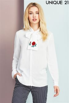 Unique 21 Embroidered Pussy Bow Shirt