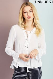 Unique 21 Lace Up Ruffle Top