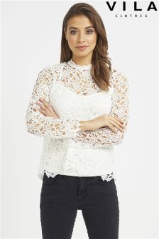 Vila All Over Lace Top