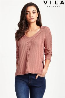 Vila Soft Ribbed V Neck Jumper