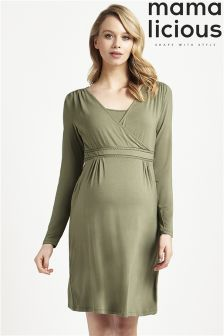 Mamalicious Maternity Long Sleeve Nursing Jersey Midi Dress