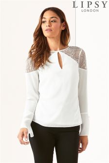 Lipsy Lace Fluted Sleeve Top